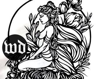 Faye Fairy Paper Cutting Template, Faerie Paper Cutting Template, Personal Use, Vinyl Template, JPEG, SVG, Wildchild Designs, Flower Fairy