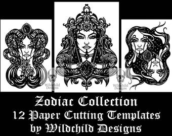 12 x Zodiac Themed Paper Cutting Templates, Commercial Use Templates, Wildchild Designs, Goddess Collection JPEG, SVG, Vinyl Templates