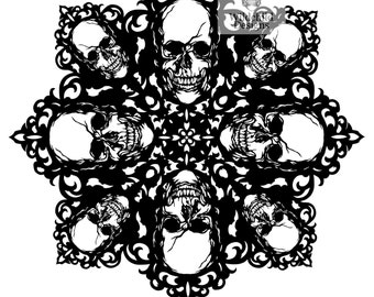 gothic cameo skull mandala paper cutting template personal etsy