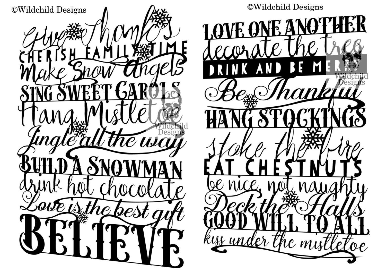 2 x Weihnachten Winter Regeln Papierschnitt-Vorlagen   Etsy