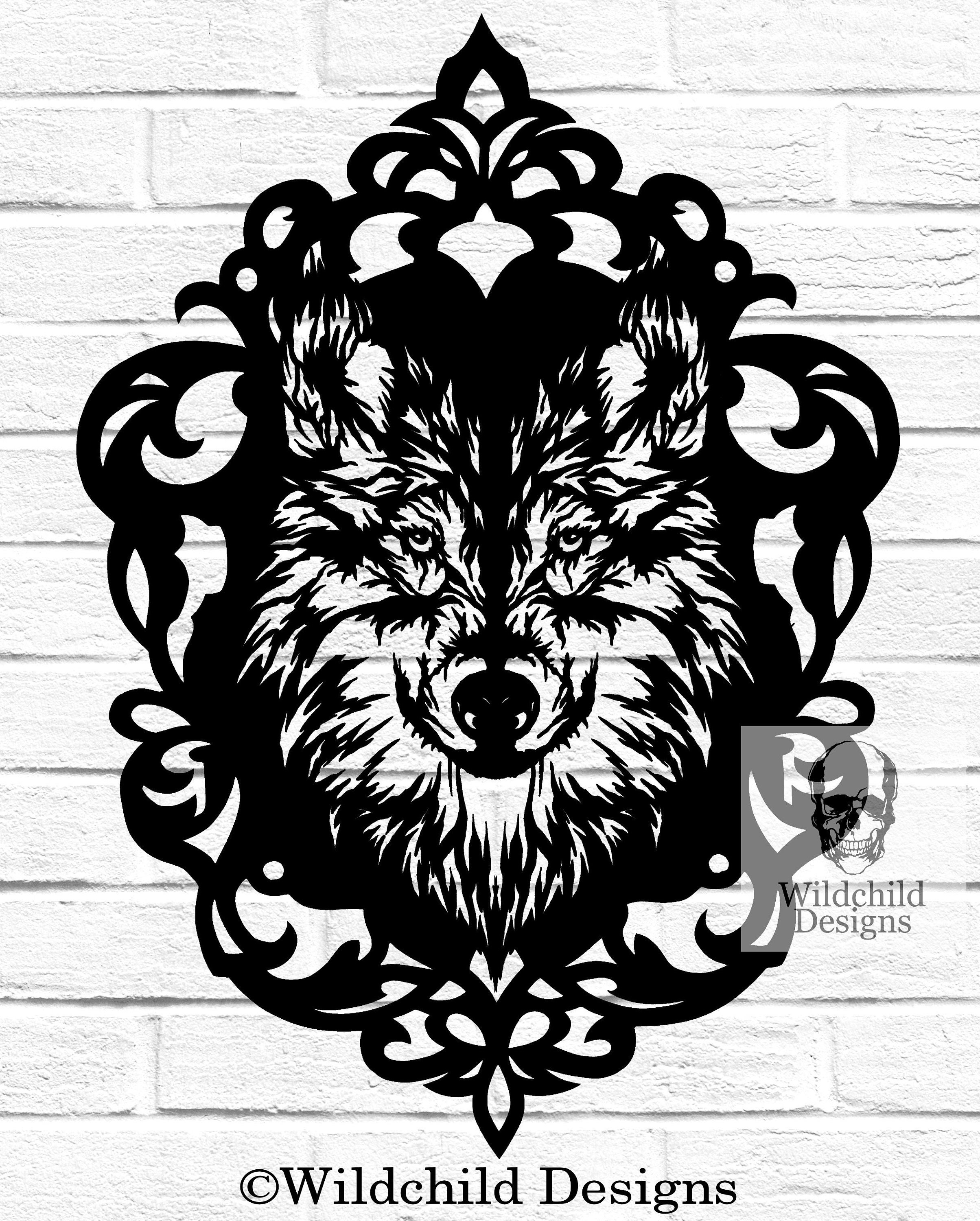 cameo wolf paper cutting template commercial use vinyl etsy