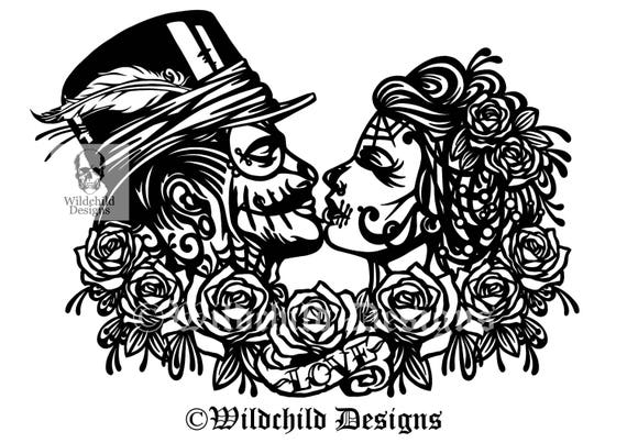 lesbian wedding coloring pages | Gothic Wedding Couple Papercutting Template Personal Use ...