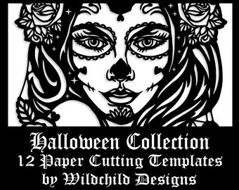 12 x Halloween Themed Paper Cutting Templates, Commercial Use Templates, Wildchild Designs, Gothic Collection JPEG, SVG, Vinyl Templates