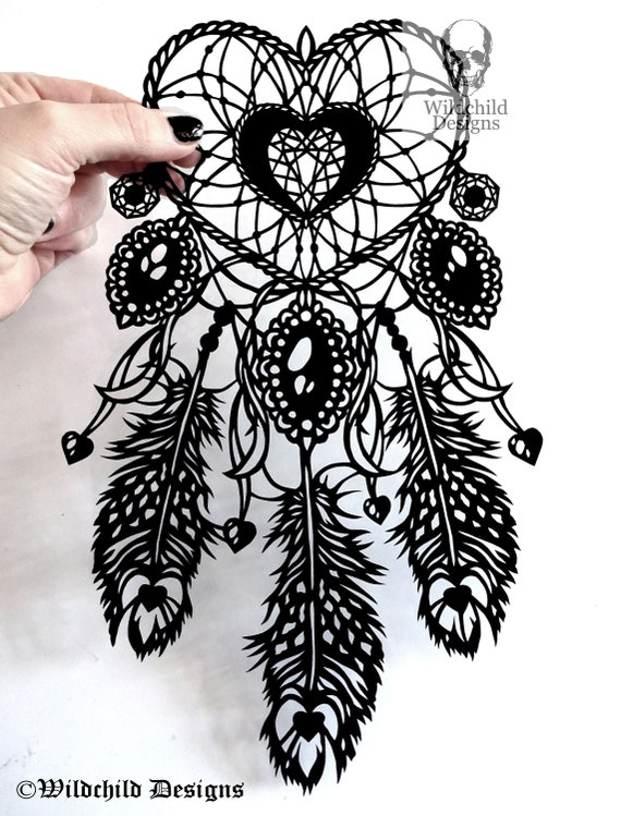 heart dreamcatcher paper cutting template dream catcher vinyl etsy