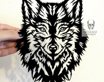Sapphire Wolf Paper Cutting Template, Personal Use, Vinyl Template, SVG, JPEG, Wildchild Designs, Direwolf Template, Spirit Guide, Dire Wolf