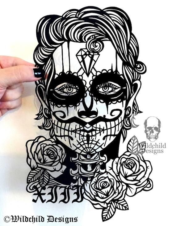 senor lucia day of the dead sugar skull paper cutting etsy