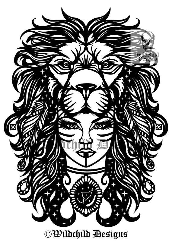 Leo Papercutting modèle, modèle de vinyle, SVG, JPEG, utilisation commerciale, Zodiac, gabarit de découpe de papier Leo, Wildchild Designs, Lion modèle