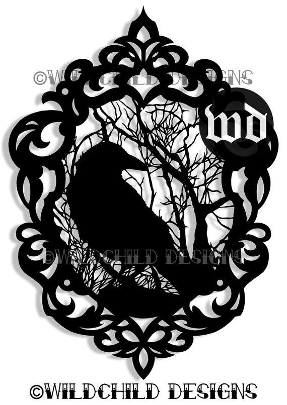 gothic cameo crow papercutting template vinyl template svg etsy