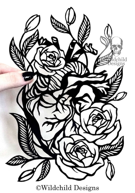 Heart Flowers Paper Cutting Template Vinyl Template Svg Etsy