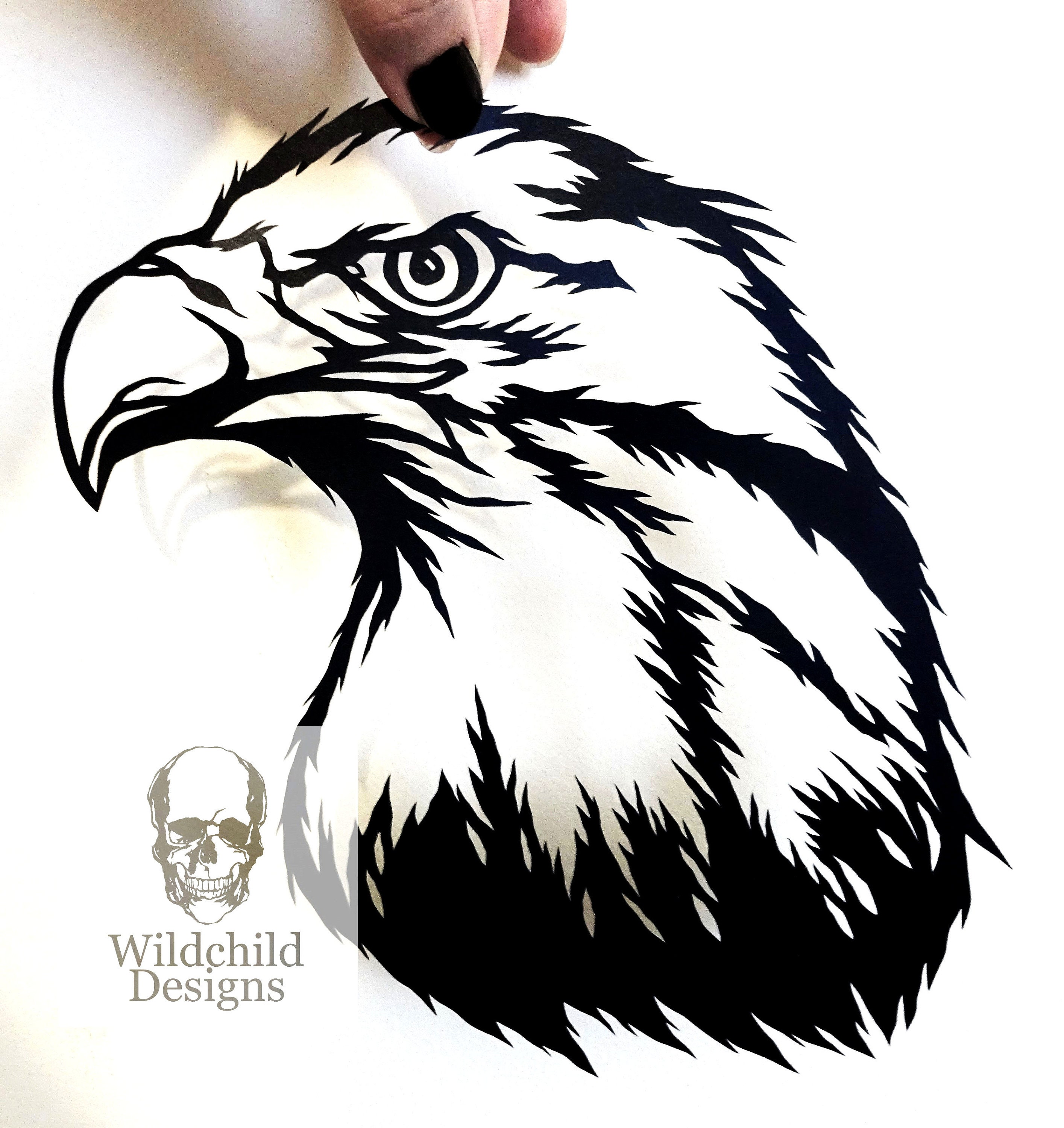 Eagle Head Paper Cutting Template, Commercial Use, Vinyl Template, SVG,  JPEG, Wildchild Designs, Native American Template, Eagle Clipart