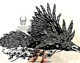 Flying Raven  Carrying The Night Sky & Stars Paper Cutting Template, Personal Use, Vinyl Template, SVG, JPEG, Wildchild Designs, Raven