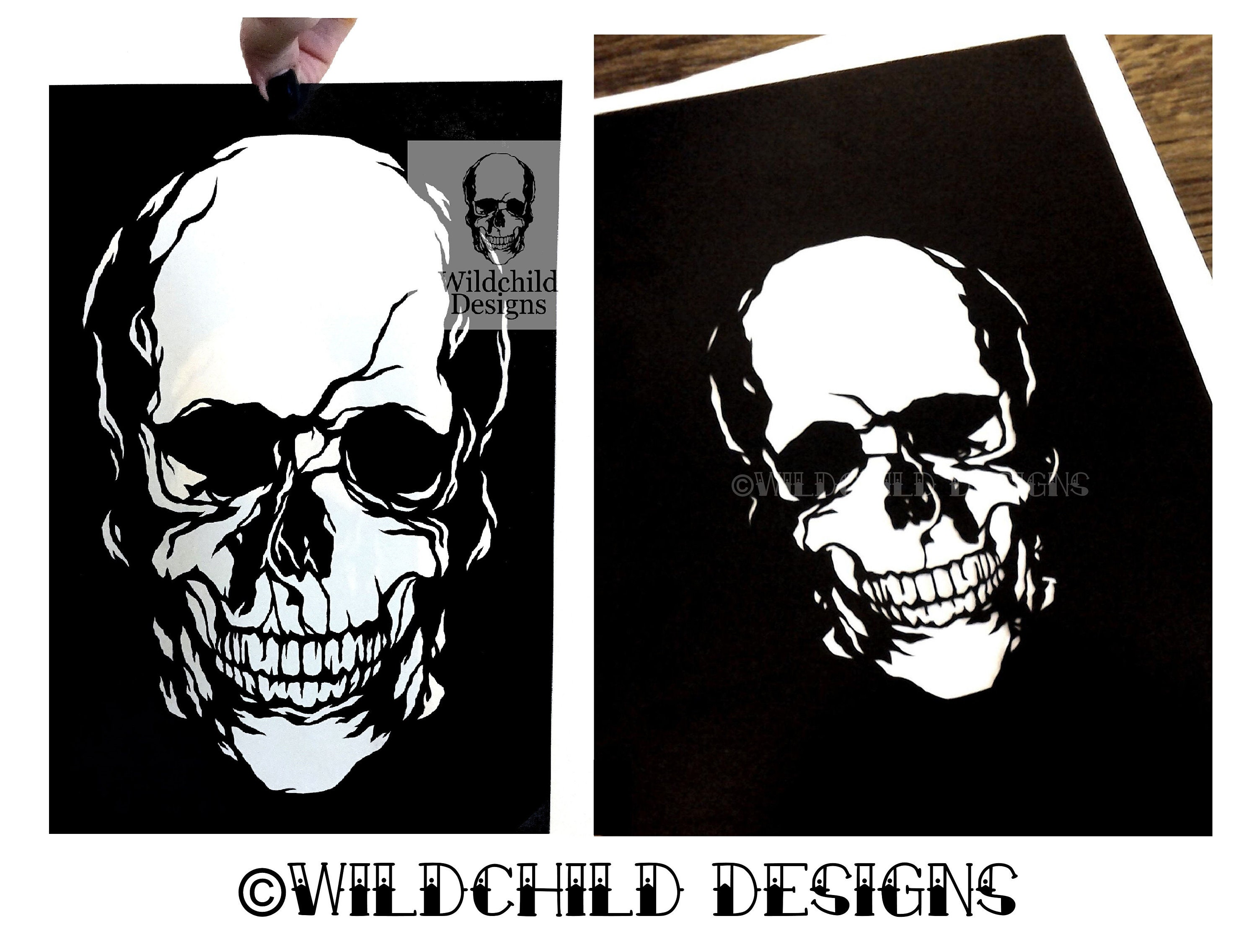 Skull Template   2 X Gothic Skull Paper Cutting Templates Commercial Use Etsy