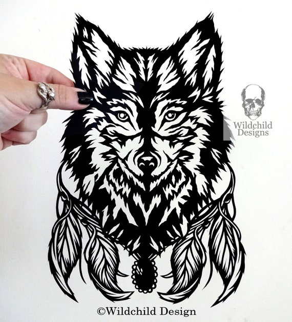 lyra wolf head paper cutting template commercial use vinyl etsy