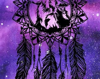 Howling Wolf & Mandala Moon Dreamcatcher Paper Cutting Template, Personal Use, Vinyl Template, SVG, JPEG, Wolf Template, Wolf Vinyl