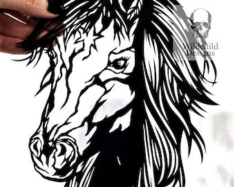 Spirit the Horse Paper Cutting Template, Personal Use, Vinyl Template, SVG, JPEG, Wildchild Designs, Wild Horse Template, Riding Template