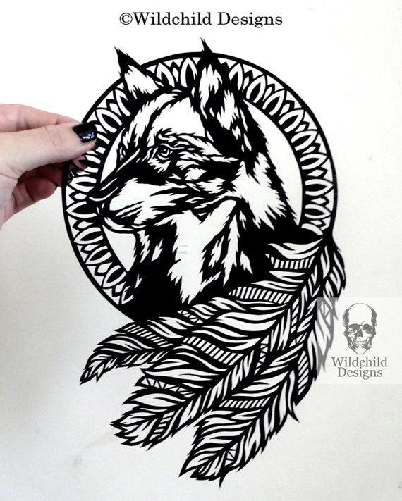 wolf dreamcatcher paper cutting template personal use vinyl etsy