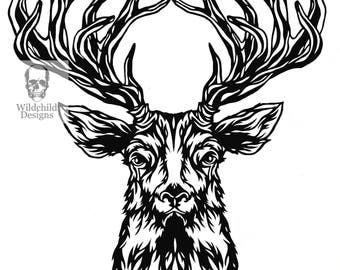 Facing Stag Head Paper Cutting Template, Personal Use, Vinyl Template, SVG, JPEG, Deer Template, Stag Template, Woodland Template, Wildchild