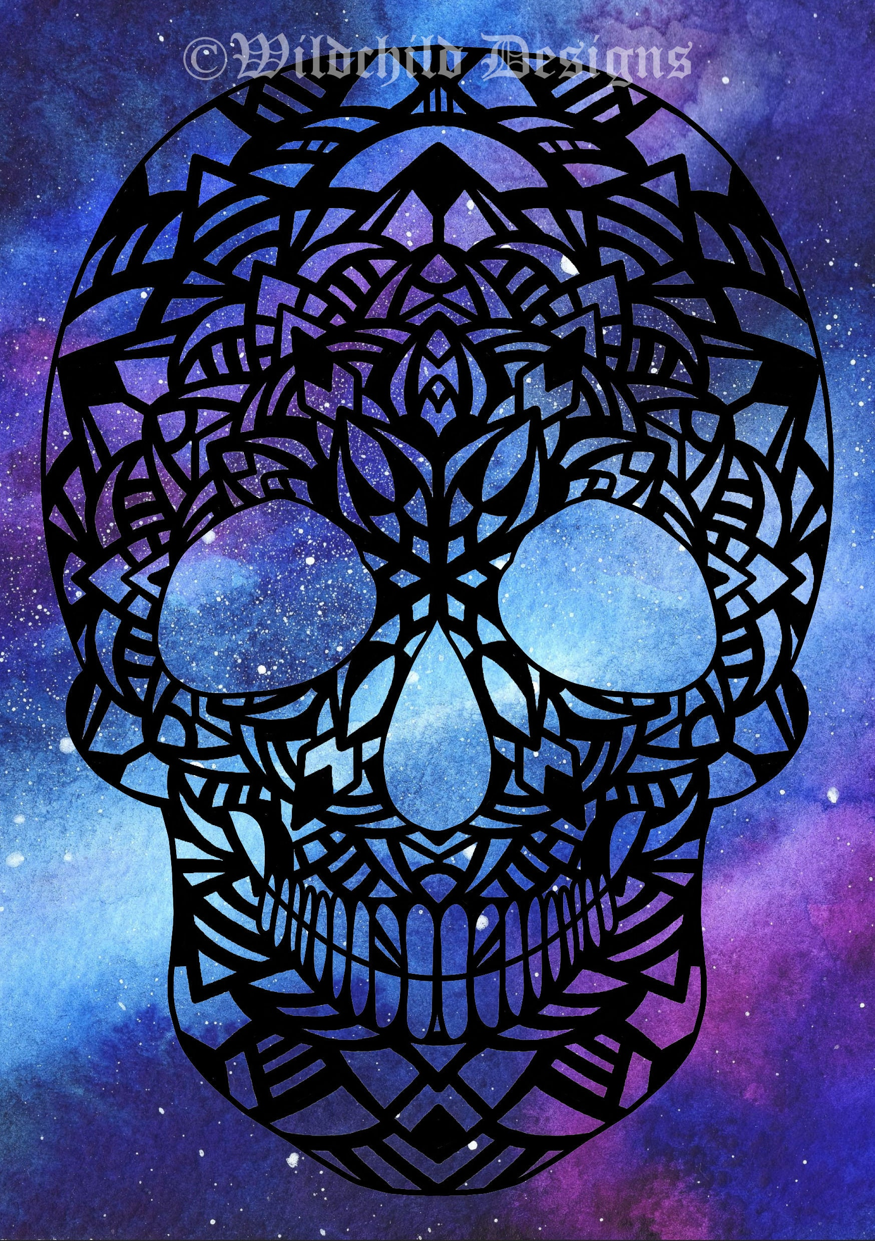Gothic Skull With Mandala Pattern Paper Cutting Template