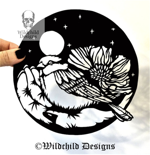 Mixed Media Set Number  2 Black Birds Purple Hand Cut Stickers Leaves Blue Hand Painted and Hand Cut Stickers  Paper