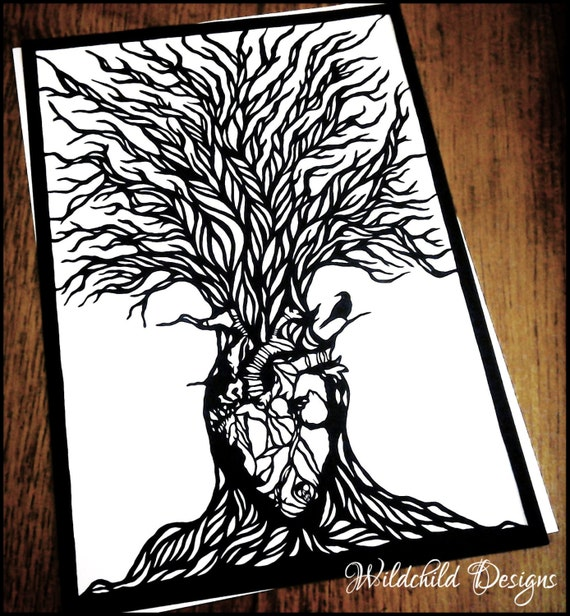 Great Heart Tree Paper Cutting Template Personal Commercial Use
