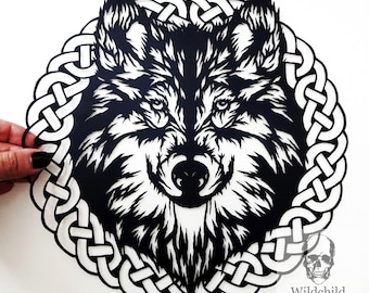 Weylyn Celtic Wolf Head Paper Cutting Template, Personal Use, Vinyl Template, SVG, JPEG, Wildchild Designs, Son of the Wolf, Wolf Template
