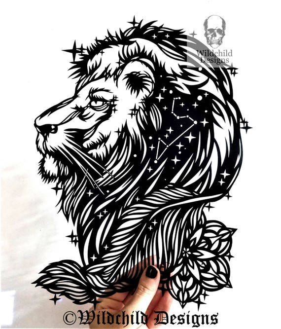 leo lion paper cutting template personal use vinyl template etsy