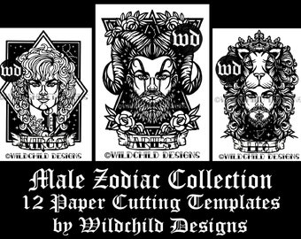 12 x Male Zodiac Themed Paper Cutting Templates, Commercial Use Templates, Wildchild Designs, Gods Collection JPEG, SVG, Vinyl Templates
