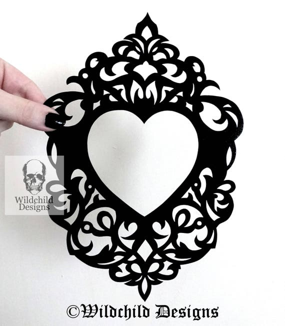 Heart Shaped Cameo Frame Papercutting Template Vinyl Etsy