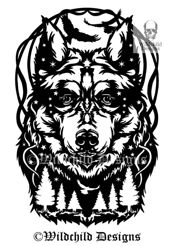 midnight wolf paper cutting template personal use vinyl etsy