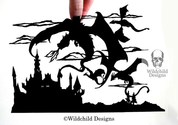 Dragon Siege Silhouette Paper Cutting Template Commercial
