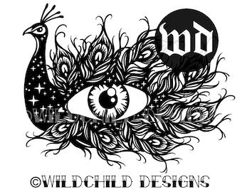Peacock's Eye Paper Cutting Template, Peacock Papercutting Template, Personal Use, Vinyl Template, JPEG, SVG, Wildchild Designs