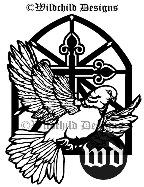 dove window paper cutting template religious template etsy