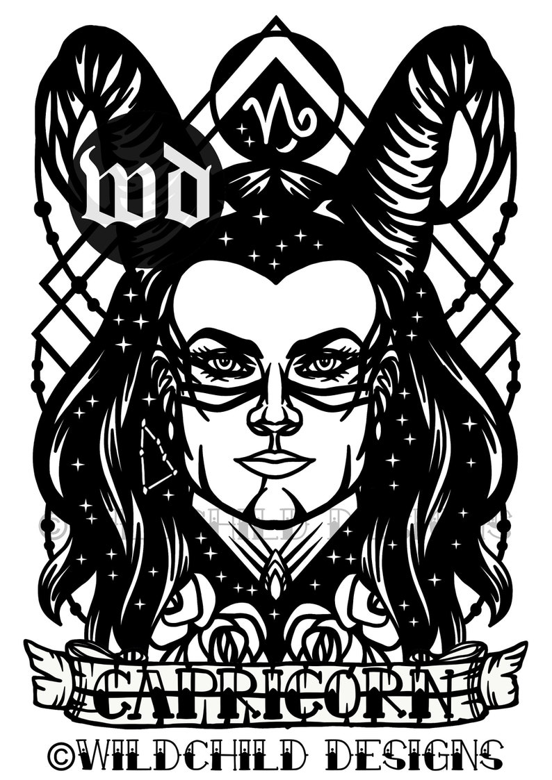 Capricorn Man Papercutting Template, Vinyl Template, SVG, JPEG, Commercial  Use, Male Zodiac, Capricorn Paper Cutting Template, Astrology