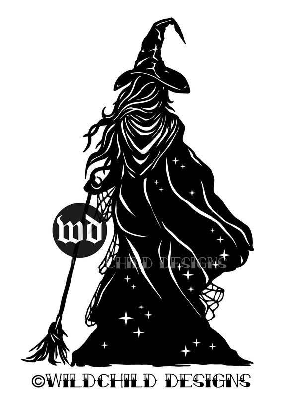 Witch Silhouette Papercutting Template Vinyl Template | Etsy
