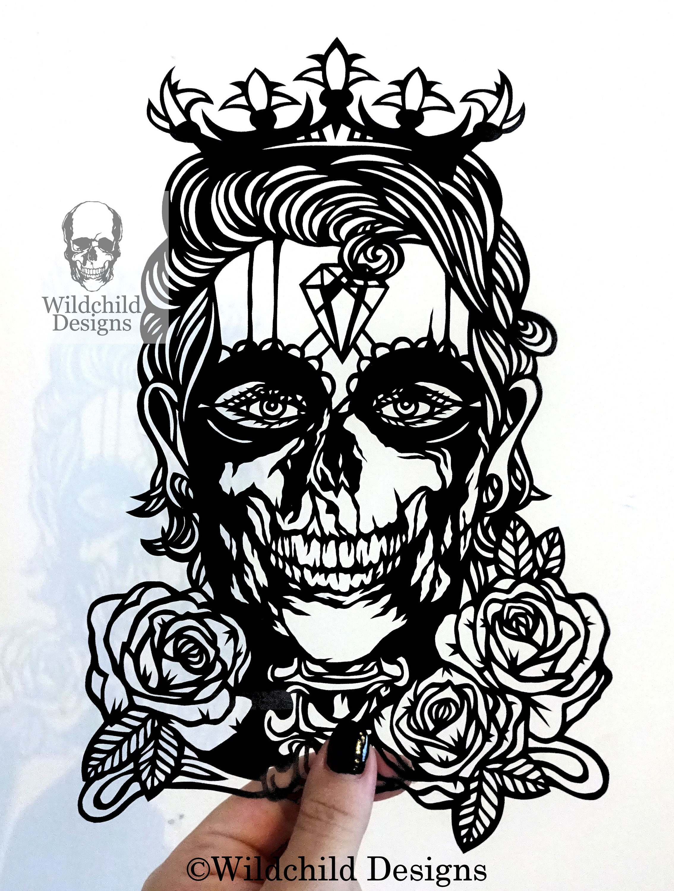 Prince Charming Day Of The Dead Male Sugar Skull Paper Cutting Etsy