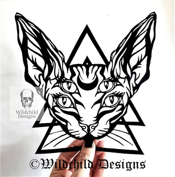 Tattoo Sphynx Cat Papercutting Template Svg Jpeg Vinyl Etsy