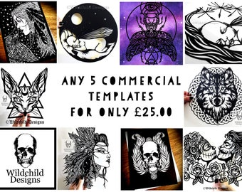 Any 5 Commercial Use Papercutting and Vinyl Templates for Only * 25.00 * Beautiful Gothic-Inspired Designs by Wildchild Designs, JPEG, SVG