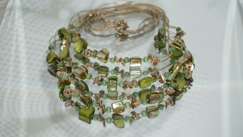 Gold Tone Multi Strand Earth Color Geometric Beads Necklace Summer Trend Three Strand Necklace Multi Beads Necklace Green Necklace