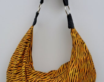 Animal Print Tiger Print Boho Slouchy Hobo Bag Purse