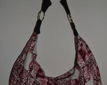 Red and White Batik Boho Slouchy Hobo Bag Purse