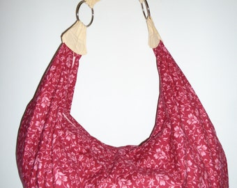 Red and Pink Floral print Slouchy Hobo Bag Purse