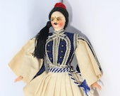 Vintage Plastic Turkish Prince Doll with Twilled Painted Face Ca. 1950 39 s Folk Art Doll