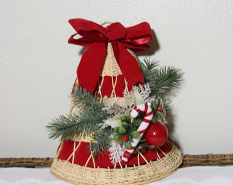 wicker large christmas bell with evergreen and candy cane wall door holiday decoration - Large Christmas Bells Decorations
