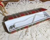 Vintage Rectangular Oblong Porcelain Trinket Box Tartan Pattern, Jewelry Box Neiman Marcus Japan