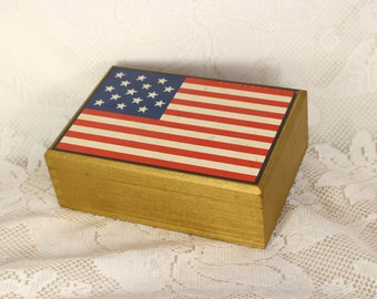 American Flag Trinket Box Jewelry Keepsake Bejeweled USA Patriotic