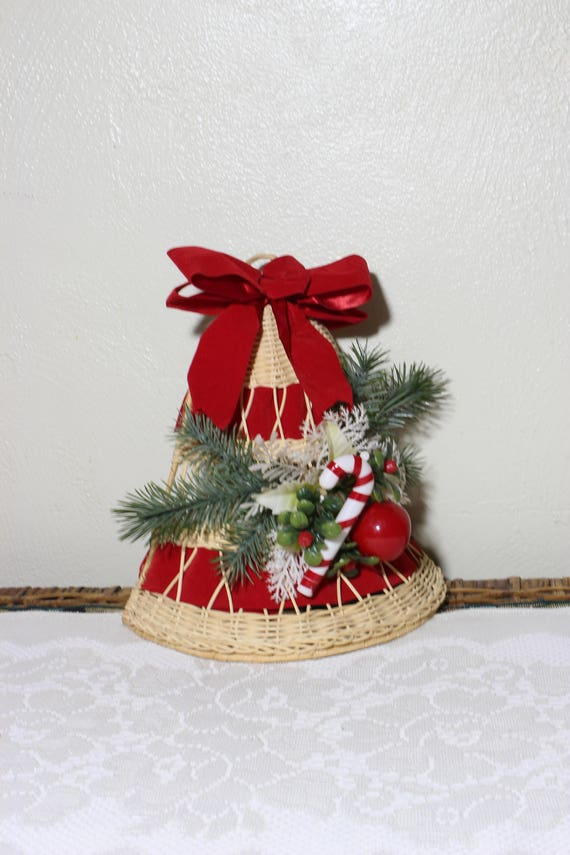 Wicker Large Christmas Bell With Evergreen And Candy Cane Mesmerizing Large Christmas Bells Decorations