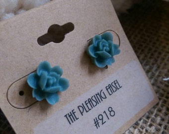 Steel Blue/Grey Flower Earrings - Surgical Stainless Steel backs - #218