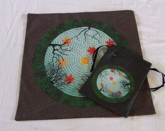 Tarot or Altar Bag and Mat Set - Reflections in an Autumn Pond - Altar or Tarot Cloth w Drawstring Bag - Divination or Casting Mat w Pouch