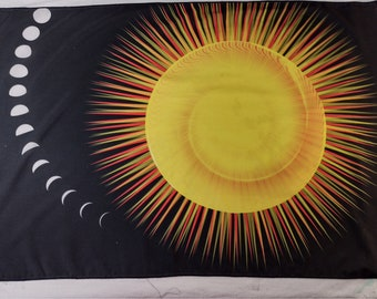 Pure Silk Altar Cloth or Tarot Cloth - Measuring Time - Wiccan or Pagan Altar Cloth for Yule, Litha or anytime
