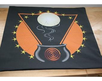 Altar Cloth or Tarot Mat - Magic Cauldron - Pagan or Wicca Altar or Tarot Cloth for Samhain